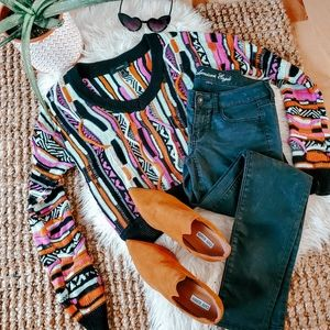 F21 colorful textured pullover
